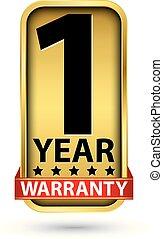 1 year warranty golden label, vector illustration