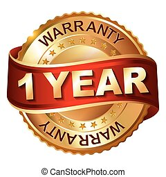 1 year warranty golden label with ribbon. Vector...