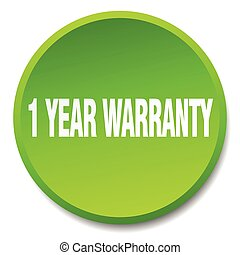 1 year warranty green round flat isolated push button