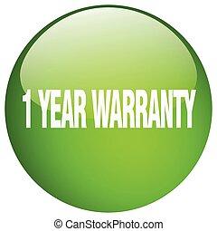 1 year warranty green round gel isolated push button
