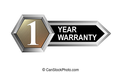 1 Year Warranty Hexagon Seal - Illustration of a silver...