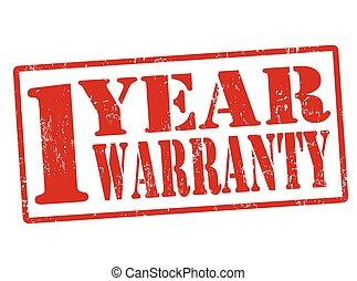 1 Year Warranty grunge rubber stamp on white, vector illustration
