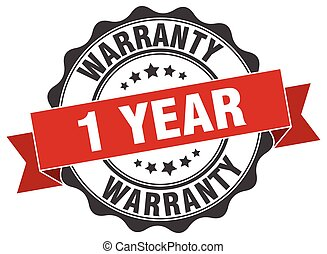 1 year warranty stamp. sign. seal