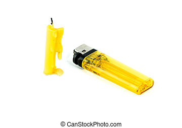 1 yellow candle and 1 yellow lighter on isolated background