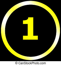 yellow number one at the center of yellow circular on a black screen