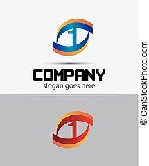 1, zählen, logo, ikone