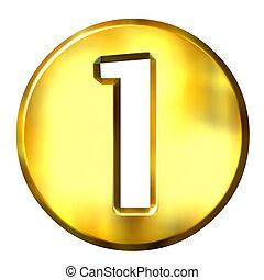 1, złoty, 3d, liczba, ułożony