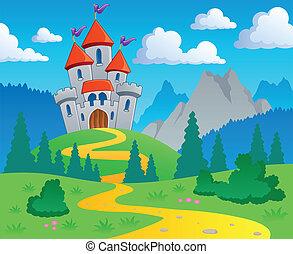 1, zamek, temat, krajobraz