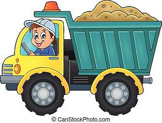 1, zand, vrachtwagen, thema, beeld