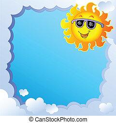 1, zon, frame, bewolkt