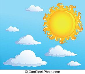 1, zon, thema, wolken