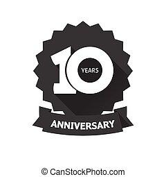 10ème, dix, autocollant, anniversaire, anniversaire, années, vecteur, année, icône, étiquette