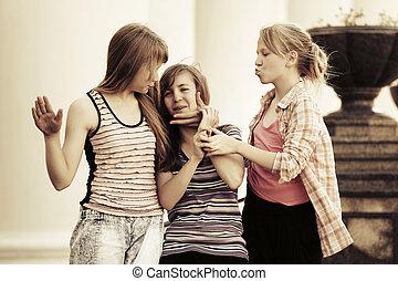 10代少女たち, 屋外, グループ, 幸せ