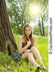 10代少女, 牧草地, かなり