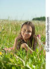 10代少女, 草, 牧草地, あること