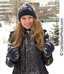 10代少女, 雪, 幸せ