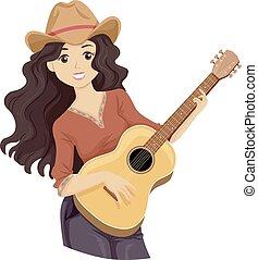 10代少女, 音楽, 国, ギター, イラスト
