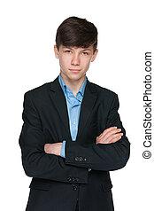 10代少年, ハンサム, 黒いスーツ
