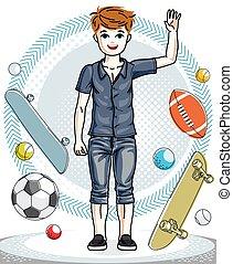 10代少年, ファッション, clipart., かわいい, 身に着けていること, character., 子供, 若い, clothes., 地位, 主題, ベクトル, 流行, 偶然
