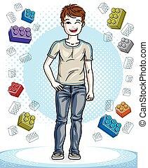 10代少年, ファッション, clipart., かわいい, character., 子供, 若い, clothes., 地位, 主題, ベクトル, 流行, 偶然
