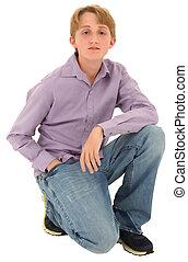 10代少年, 上に, コーカサス人, バックグラウンド。, 白, 偶然, ハンサム