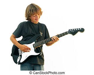 10代少年, 微笑, ギターの遊ぶこと