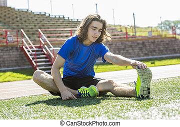 10代少年, 訓練, 操業, フィールド, 外, 準備ができた