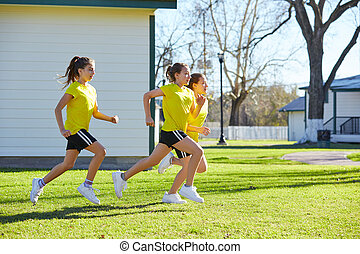 10대의 소녀, 그룹, 달리기, 연습, 에, 공원