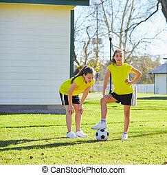 10대의 소녀, 운동, 연습, 에, 공원