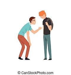 10대의 소년, 비웃는 것, 그의 것, 동급생, 충돌, 사이의, 아이들, 조롱, 와..., 괴롭히는 것,...