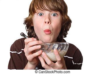 10대의 소년, 사발, 먹다, 곡물
