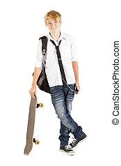 10대의 소년, 와, 스케이트보드, 고립된, 백색 위에서