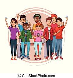 10대, 와, smartphones, 만화