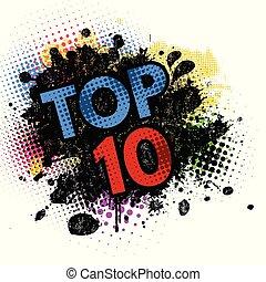 10, éclaboussure, sommet, arrière-plan noir, encre