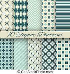 10, élégant, seamless, (tiling), motifs, vecteur