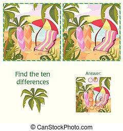 10, été, puzzle, différences, trouver, answer., mer, plage, dessin animé
