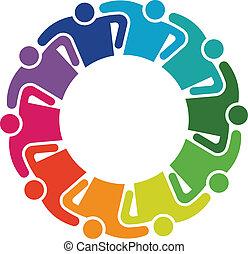 10, étreinte, groupe, bûche, gens, collaboration