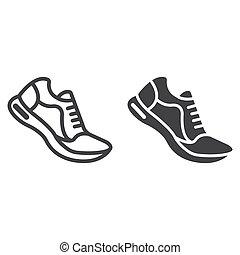 10., παπούτσια , πρότυπο , γυμναστήριο , eps , σήμα , αγώνισμα , εικόνα , τρέξιμο , μικροβιοφορέας , καταλληλότητα , graphics , γραμμή , glyph, αγαθός φόντο , γραμμικός