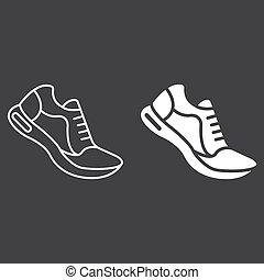 10., παπούτσια , πρότυπο , γυμναστήριο , eps , σήμα , αγώνισμα , εικόνα , τρέξιμο , μικροβιοφορέας , μαύρο , καταλληλότητα , graphics , γραμμή , glyph, φόντο , γραμμικός