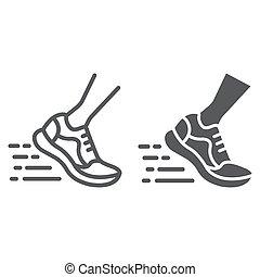 10., παπούτσια , σήμα , πρότυπο , eps , γρήγορα , αγώνισμα , εικόνα , τρέξιμο , μικροβιοφορέας , υπόδηση , graphics , γραμμή , αγώνισμα , glyph, αγαθός φόντο , γραμμικός