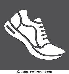 10., παπούτσια , στερεός , πρότυπο , γυμναστήριο , eps , σήμα , αγώνισμα , εικόνα , τρέξιμο , μικροβιοφορέας , μαύρο , καταλληλότητα , graphics , φόντο , glyph