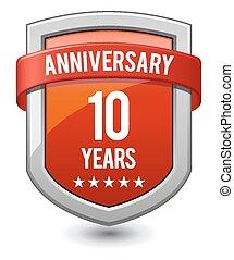 10 , χρόνια , επέτειος , κόκκινο , αιγίς