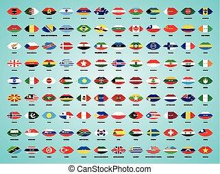 10 , όλα , κραγιόν , proportions., εθνικός , επίσημος ανώτερος υπάλληλος , απομονωμένος , eps , day., φόντο. , μπογιά , μικροβιοφορέας , σημαίες , φιλί , κόσμοs , άσπρο , σημαδεύω , χείλια , πάνω , ανεξαρτησία , illustration.
