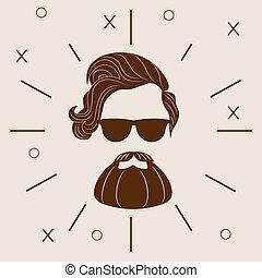 10, あごひげを生やしている, ファッション, 隔離された, イラスト, eps, バックグラウンド。, ベクトル, 情報通, 白, silhouette.