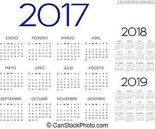 10, アウトライン, テキスト, ベクトル, バージョン, スペイン語, 2017-2018-2019, カレンダー