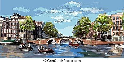 10, オランダ, カラフルである, 手, ベクトル, 図画