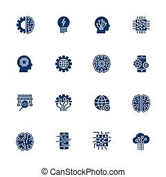 10, セット, 単純である, 知性, eps, icons., 人工, ベクトル, 関係した, 線