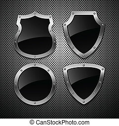 10, セット, illustration., shields., eps, ベクトル