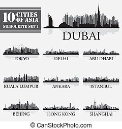 10, セット, silhouettes., アジア, 1, スカイライン, 都市