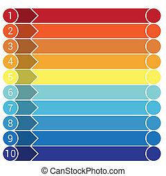 10, テンプレート, infographic, 横, ストリップ
